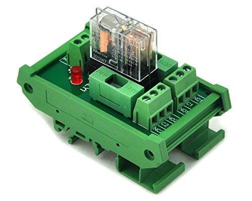 Electronics-Salon Montage sur rail DIN Fused DPDT Puissance 5A Relais Interface Module, G2R-2 24V DC Relais.
