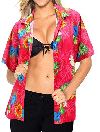 La Leela Entspannt Hawaiihemd Urlaub Blusen-Taste Nach oben Frauen mit Kurzen Ärmeln Rosa XL (Strand-taste Unten Nach Shirt)