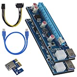 Erstellen ideal 2 PCI-E Express 1 X auf 16 X Extender Kabel USB 3.0 Riser Card Adapter Power Bergbau Kabel 6pin