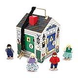 Melissa & Doug Take-Along Wooden Doorbell Dollhouse (Doorbell Sounds, Keys, 4 Poseable Wooden Dolls, 22.86 cm H x 17.272 cm W x 17.272 cm L)