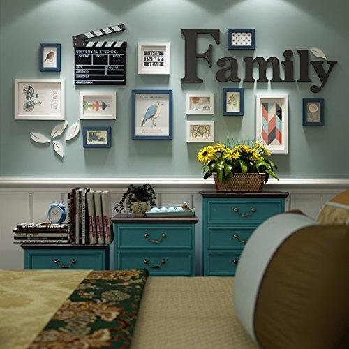 Global- 12 Multi Cadres photo Set Moderne Style Minimaliste Bois Salon Photo Photo Mur Cadre Combinaison Peinture ( Couleur : Bleu+Blanc )