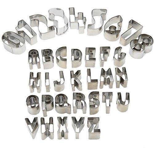 UBLISS 35 pezzi L'Alfabeto Lettere Formine per Taglia Biscotti pasticceria per Decorazioni Natalizie