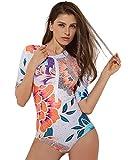 UR MAX BEAUTY Donna Zip Anteriore Stampata Manica Lunga Costume Intero Swimwear, Costume da Bagno Top Protezione Solare,S
