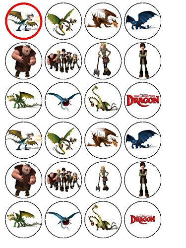 24 How to Train Your Dragon Edible Wafer Paper Cup Cake Toppers by CakeThat (Cup Cake Toppers)