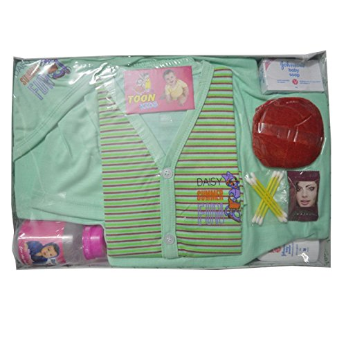 NEW BORN BABY GIFT SET GREEN COLOR WITH 7 CONTENTS PACKB01CZNYHY4
