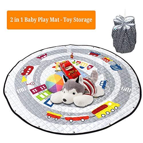 Yulie 2 in 1 Baby Spielmatte Spielzeug Speicher Tasche, Krabbeldecke Matt Kinderteppich für Bbay, Kinder, Rund Groß Weich Spielteppich für Mädchen & Junge (Auto)