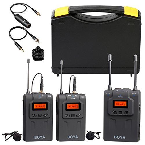 Boya pro clip-on uhf doppio canale mic senza fili del microfono audio system video recorder 2 trasmettitore 1 ricevitore per canon nikon sony dslr videocamera