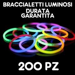 Idea Regalo - Partylandia Shop BRACCIALI Braccialetti Luminosi Fluorescenti Starlight Glowstick Disco Glow Stick 200 PZ, Multicolore, 200starlight