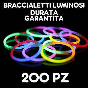 partylandia Shop-pulseras pulseras luminosos fluorescentes Starlight glowstick disco Glow Stick 200unidades, Multicolor, 200starlight