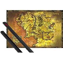 Póster + Soporte: El Señor De Los Anillos Póster (91x61 cm) Mapa Clásico De La Tierra Media Y 1 Lote De 2 Varillas Negras 1art1®