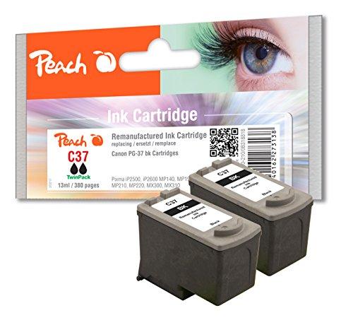 Preisvergleich Produktbild Peach Doppelpack Druckköpfe schwarz kompatibel zu Canon PG-37