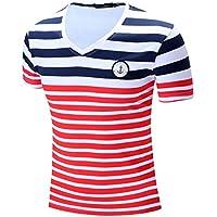 Redstrong Moda FM006 Hombres Camiseta de Manga Corta Cómoda con Cuello en V Camisa con Estampado de Rayas Camisetas para Hombre Camiseta Casual Tops