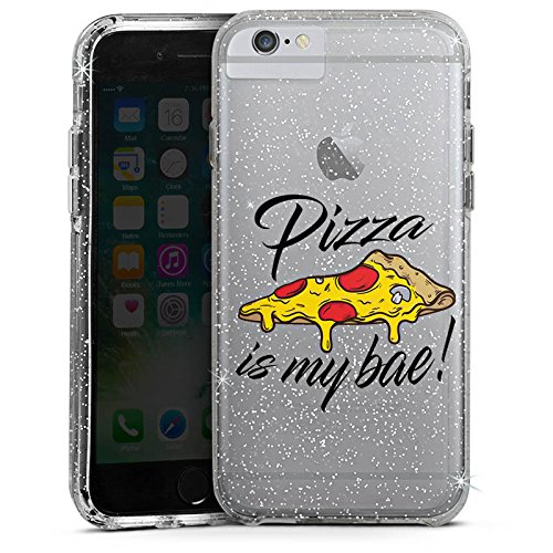 Apple iPhone 6s Bumper Hülle Bumper Case Glitzer Hülle Motiv ohne Hintergrund Pizza Spruch Bumper Case Glitzer silber
