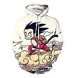 Dragon Ball Son Goku Kängurutasche Hoodie Sweatshirt Cosplay Kostüm Coat Kapuzenpullover Weiß S