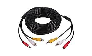 Cable de extensión 3en 1 para cámara de vigilancia CCTV de vehículos, CC, RCA, Audio Vídeo AV, 5/10/15/20metros 1,8 m de HitCar