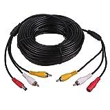 HitCar 3-in-1 Strom-/Audio-/Video-Verlängerungskabel für Videoüberwachungssysteme, Auto, LKW, Bus, Anhänger, Rückfahrkamera, Länge 5, 10, 15, 20Meter 20 Meters