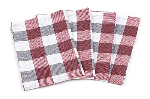 Zestri 4er-Set Geschirrhandtücher - Made IN EU - 100% Baumwolle - Kariert Geschirrtücher Rot | 50 x 70 cm (Baumwoll-geschirrtücher Rot)