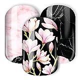 Nail Wraps / Nagelfolien - 'Marmor Magnolia' - blumiges Design mir Magnolien in Kombination mir Marmor (pink, rosa, schwarz)