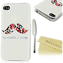 Mavis's Diary Coque iPhone 4/iPhone 4S Étui Housse de Protection en PC Phone Case Cover Barbe Dessin Shell Rigide Ultra Mince Léger+Stylet+Chiffon