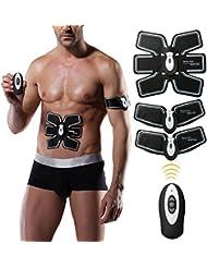 Elettrostimolatore Muscolare,Charminar Abs Trainer EMS, Cinghia tonificante addominale con linea di USB , Allenamento della vita della palestra per body fitness per Donna e Uomo nero-bianco
