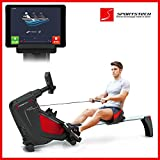 Sportstech RX500 rowing machine with smartphone control - fitness app with history - 12 rowing programs + 4 pulse programs - 16 resistance levels - competition mode - pulse belt included - foldable