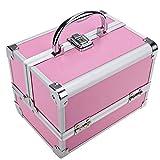 Kosmetikkoffer mit Spiegel, Tomasa Schminkkoffer Schmuckkoffer Schmuckbox Make Up Box Aluminium Abschließbare Schwarz Silber Rosa 20 x 15.5 x 15.5cm