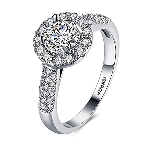Eternity Love Women Wedding Engagement Rings 18K Gold Plated Cz Diamonds Bands Solitaire Princess Cut Promise Anniversary Bridal Jewelry Infinity Love for Her, JPR823-9-UK
