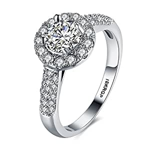 Eternity Love Women Wedding Engagement Rings 18K Gold Plated Cz Diamonds Bands Solitaire Princess Cut Promise Anniversary Bridal Jewelry Infinity Love for Her, JPR823-7-UK