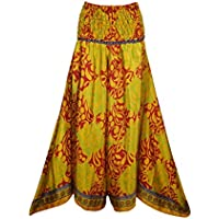 Mogul Interior Keira Women Divided Skirt Pant Gypsy Recycled Silk Sari Smocked High Waist Wide Leg Boho Long Skirts S/M