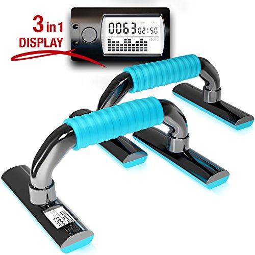 Sportstech Einzigartige Liegestützgriffe mit 3in1 Display und Sensor-Technologie PBX300, extra Dicke und weiche Silikon-Griffe, Push Up Stand Bar für Dips, Liegestütz, Brustmuskel Fitness Training (Bar Dip Stand)