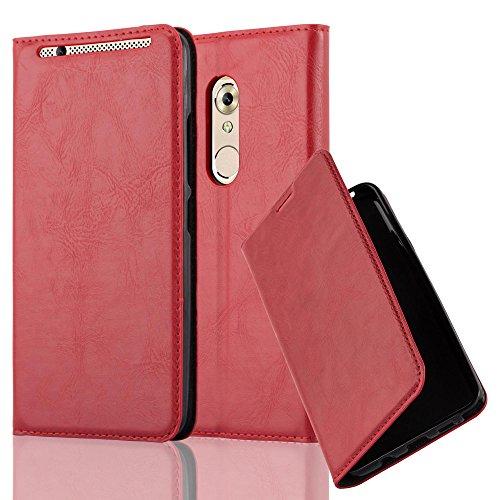 Cadorabo Hülle für ZTE Axon 7 - Hülle in Apfel ROT – Handyhülle mit Magnetverschluss, Standfunktion und Kartenfach - Case Cover Schutzhülle Etui Tasche Book Klapp Style