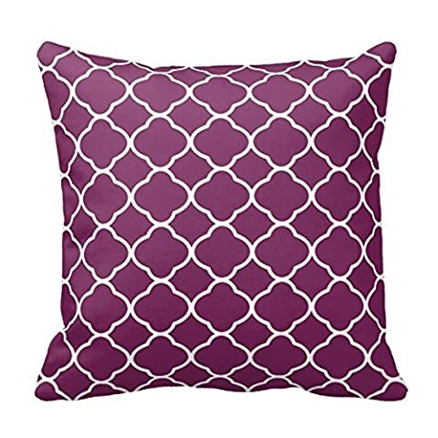 Funny Wholesale Plum Purple And White Quatrefoil Toss Cotton Linen Decorative Throw Pillow Cover Cushion Cover 18 X18 inch cushion.