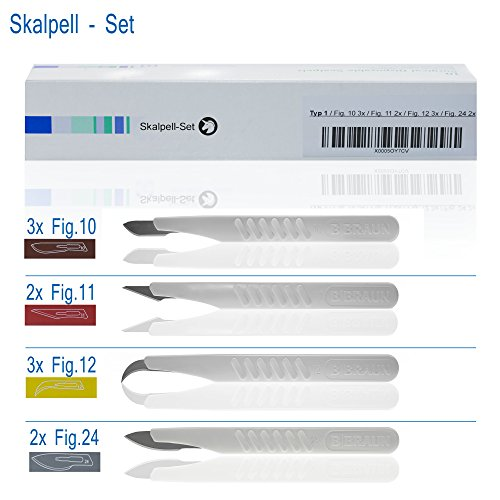 Horn Medical Einweg Skalpell Set Typ I, Fig 10 (3x), Fig 11(2x), Fig 12 (3x), Fig 24 (2x), steril,...