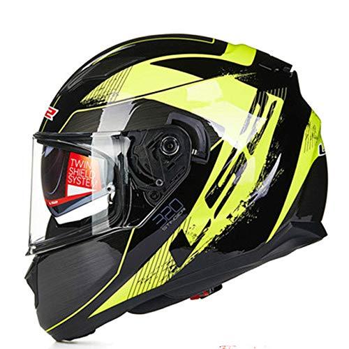 Casco moto incorporato Visiera parasole Doppia lente Casco integrale Senza airbag Casco moto Dot certificazione nero giallo stinger XXL