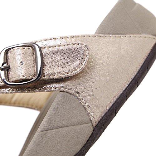 YEEY Sandali estivi infradito Flat infradito t-strap pantofole t-strap Boemia romana sandali per le donne pale gold
