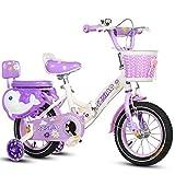 Kinderfahrrad Klapp FahrräDer Mit 2 Hilfe Rädern Fahrrad Mit Bremsen Vorne Und Hinten,Purple,18inch