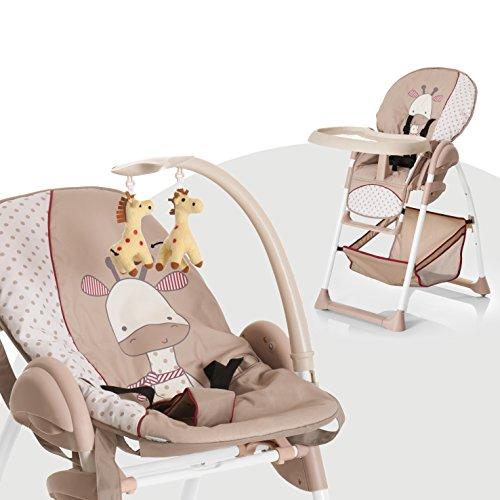 Hauck Sit'n Relax Newborn Set - Neugeborenen Aufsatz und Kinderhochstuhl ab Geburt, mit Liegefunktion / inkl. Spielbogen, Tisch, Rollen / höhenverstellbar, mitwachsend, klappbar, Giraffe (Braun)