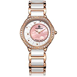 STARKING Women's BL0982RC31 Bloom Mother of Pearl Two-Tone Ceramic Stainless Steel Quartz Watch Pink
