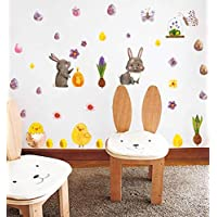 Arttop Easter Bunny Eggs Wall Decal Easter Sticker with Rabbit Eggs Chick Flower Butterfly Sticker, Fairy Garden Wall Decals for Kids Easter Decoration