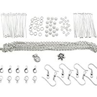 TOAOB Beginner Jewellery Making Kits with Silver Plated Findings and Beads Ideal Gift Set for Handmade DIY Necklace Bracelet Earrings