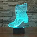 3D Illusion Night Light Shoes Shape LED Desk Table Lamp 7 Color Lamp Art Sculpture Lights Birthday Gift for Kids Bedroom Decor (USB Touching Switch)