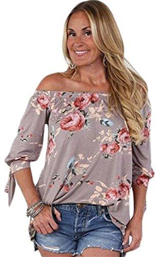 Sexy Manches 3/4 à Nouer Sleeve Élastique Off The Shoulder Épaules Nues Épaule Nue Babydoll Trapèze Blouse Chemisier Shirt Chemise T-Shirt Haut Top Kaki Floral