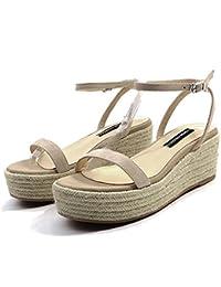 QI FANG BUSINE Slope weibliche Sandalen Sommer High Heel wasserdichte Plattform Schleifen Leder sexy (Color :...