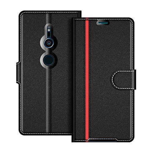 COODIO Sony Xperia XZ2 Hülle Leder Lederhülle Ledertasche Wallet Handyhülle Tasche Schutzhülle mit Magnetverschluss/Kartenfächer für Sony Xperia XZ2, Schwarz/Rot