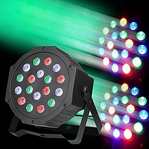 Disco DJ Stage Lights,Carryme 18W LED Par Can Par Light Stage Lighting Party light Projector Flash Lamp, DMX/Sound-Activated/Master Slave/Automatic Modes, RGB Romantic Effect, for Band Home KTV Birthday Parties Karaoke DJ Show Outdoor Wedding Club Pub Xmas Christmas New Year Halloween [Energy Class A]