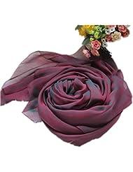 Prettystern - 200cm X 65cm zweifarbige changierend Seidentaft langer Seidenschal - weinrot schwarz
