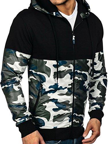 BOLF �?Felpa con cappuccio �?Con cerniera �?Sweat-shirt �?Military �?Uomo [1A1] Verde