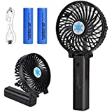 Jumkett Mini Handheld Fan, Personal Portable Desk Stroller Table Fan with USB Rechargeable Battery Operated Cooling Folding Electric Fan for Office Room Outdoor Household Traveling Pin (Black)