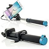 Saxonia Selfie Stick Stange Stab mit AUX Kabel Auslöseknopf (ohne Bluetooth, batterielos) | Universal Handy Kamera Halterung Blau