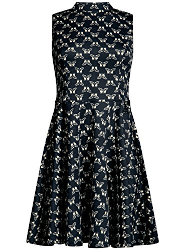 oodji Ultra Damen Kleid mit Ausgestelltem Rock und Rückenausschnitt Blau (7933U)
